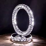 Lampada da tavolo in cristallo acciaio inox moda minimalista lampada da comodino camera da letto soggiorno a tre lati di luce di cristallo (Colore : White light)