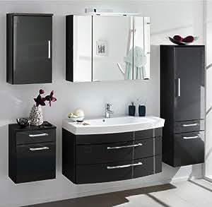 badm bel set verona 5 tlg in hochglanz anthrazit k che haushalt. Black Bedroom Furniture Sets. Home Design Ideas
