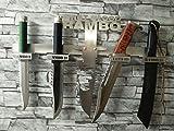 Rambo-Messer-Set 1-2-3 und 4 + Edelstahl-Design-Wand-Halterung
