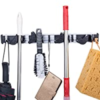 Broom Mop Holder, Diealles Wall Mounted Organizer Garage Storage Hooks Wall Mounted 4 Position 5 Hooks for Shelving Ideas