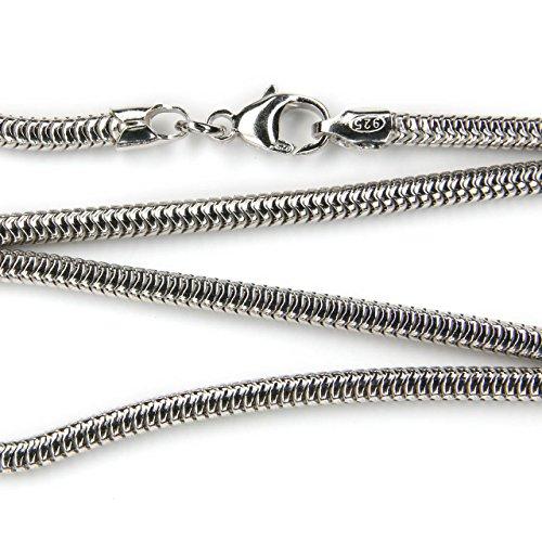 Silberkette Schlangenkette rhodiniert Halskette in der Stärke 3mm, Länge frei wählbar, Karabinerverschluss Juweliersqualität