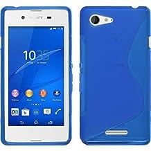 Funda de silicona para Sony Xperia E3 - S-Style azul - Cover PhoneNatic Cubierta + protector de pantalla