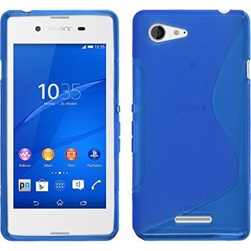 PhoneNatic Case kompatibel mit Sony Xperia E3 - blau Silikon Hülle S-Style + 2 Schutzfolien