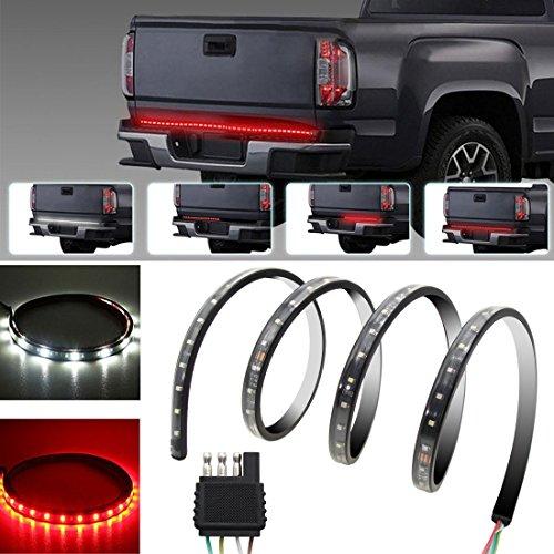 """Preisvergleich Produktbild Xcellent Global 60"""" Rot/weiß PVC Heckklappen-Streifenlicht Balken Wasserdicht SMD3528-90LEDs Blinker, Bremse, Rückfahrscheinwerfer für LKW, SUV, Jeeps, RV AT020"""
