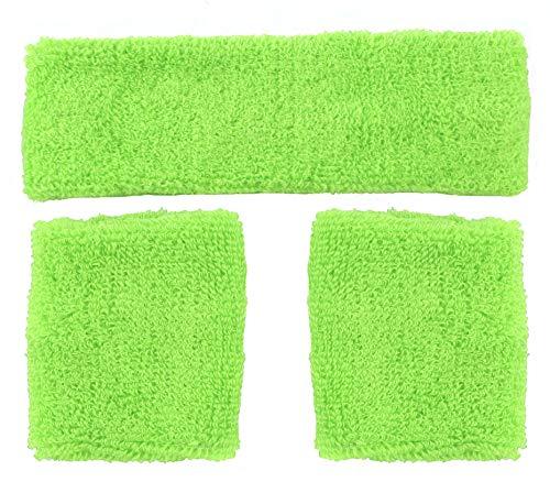 Foxxeo neon grünes Schweißbänder Set 80er Jahre Stirnband und 2 Armbänder grün Party Fasching Karneval