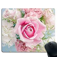 Rosa Blume hochwertiges dickes Gummi Mauspad Kissen Komfort Gefühl komplett