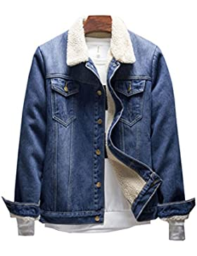Haroty Hombres Chaqueta de Vaquero Otoño Invierno Manga Larga Casual Abrigo Cálido Denim Jacket Outwear