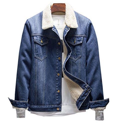 Haroty giacca in denim da uomo giacche di jeans invernali e autunno manica lunga casual jacket outwear (blu 1518, xxl)