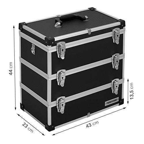 Werkzeugkoffer Angelkoffer Präsentationskoffer 3 Ebenen Alu 32L – Schwarz - 8