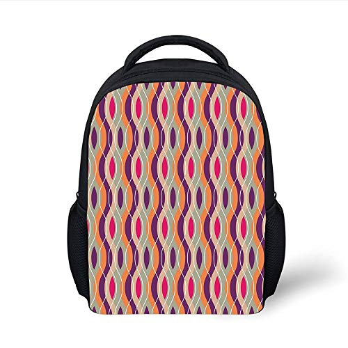 Kids School Backpack Geometric,Vertical Wavy Curved Colorful Stripes Retro Ethnic African Funky Motif,Plum Orange Grey Pink Plain Bookbag Travel Daypack -