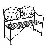Garten Bank Metall Parkbank Sitzbank Vintage Metall 2 Sitzer - auch ALS Blumenbank und Gartendeko geeignet