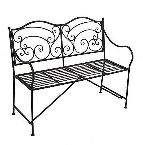 Gartenbank Metall Parkbank Sitzbank Vintage Metall 2 Sitzer - auch als Blumenbank und Gartendeko geeignet