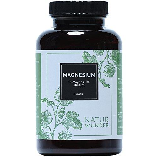 Magnesium von NATUR WUNDER | Tri-Magnesium-Dicitrat | 180 Kapseln | 2 Monatsvorrat | 329mg elementares Magnesium | Ohne Magnesiumstearate | Beste Bioverfügbarkeit | Vegan und hochdosiert | Premiumqualität | Hergestellt in Deutschland