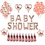 Weimi Baby Shower Party Dekorationen Ballons Rose Gold Stern Herz Folienballon für Baby Shower Hochzeit Geburtstag Party Dekorationen