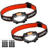 LED Head Torch Headlamp Headlight – OMERIL [2 Pack] Super Bright 150 Lumens