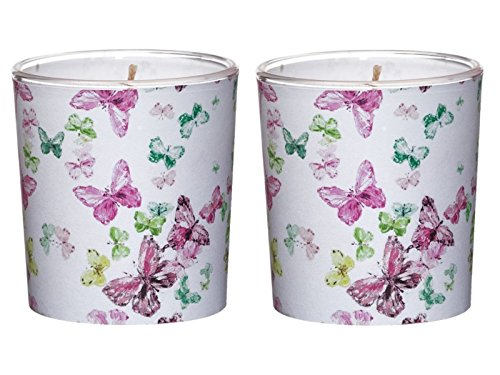 Wunderschöne Themen-Motiv Kerzen - große Lampion Kerze oder 2 Kerzen im Glas - mit tollen Motiven - in verschiedenen Ausführungen (2 Kerzen im Glas Ø7,1 x Höhe7,8cm, Schmetterling)