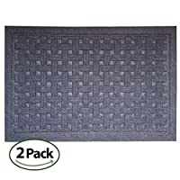 SafetyCare Heavy Duty Rubber Backed Gray Doormat - All Weather Conditions Door Mat - Durable Basket Weave Design Entrance Mat - 61 x 66 cm (24 x 16 in) - 2 Pack