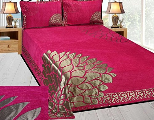 bedsheet(Premium Chenille 1 Double Bedsheet With 2 Pillow Cover, size...