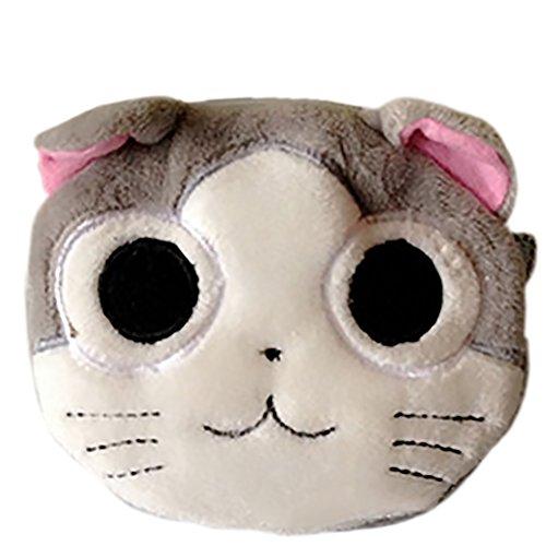 Dosige 1PCS Mujer Mini Cartera,Monedero con Cremallera, Bolso de Llave,Forma de Cara de gato de Billetera size 10X10cm (B)