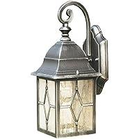 Traditionelle Art-Schwarz-Silber-Sicherheit IP im Freien bewertete Wand-Laternen-Licht mit verbleitem Art-Kathedralen-Glas - LED kompatibel