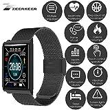ZEERKEER Montre Intelligente à écran Tactile Complet Montre Intelligente étanche avec Tensiomètre électronique pour Android iOS Bracelet Intelligent étanche N98 (Black)
