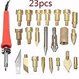 23 Piezas Pirograbador De Madera Kit, GOCHANGE Profesional Pyrography Kit con 22 Piezas Puntas de Latón Intercambiables / para Woodworking,Cuero,Corch