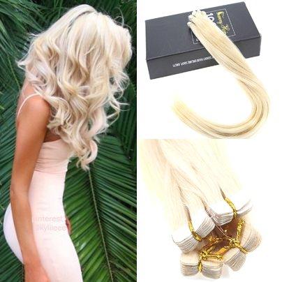 Sunny 16Zoll/40cm Extensions Echthaar Tape Blond #60 Real Remy Glatt 20pcs Tape on Extensions Echthaar 50g