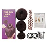 Yiwa Hair Styling Women Prefessional Hair Braiding Tools Set Capelli Bun Maker Anello Donut Shape Hair Styling Accessori Caffè