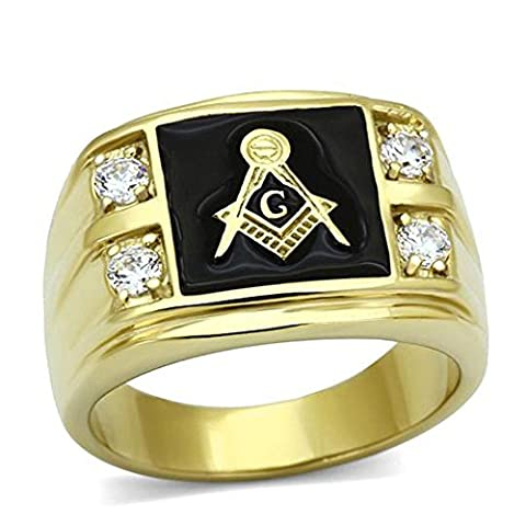 GYJUN Men¡®s Stainless Steel CZ Masonic Ring AAA Quality Cubic Zirconia Ionic Gold Plated Environmental Material Lead FreeImitation Diamond Birthstone ,