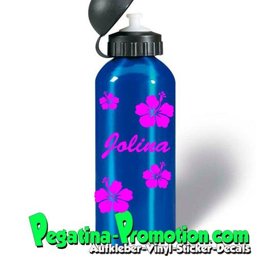 Getränke Flaschen Aufkleber mit 5 Hibiskusblüten + Kindername nach Wunsch Aufkleber Flasche Trinkflasche Aufkleber Namen Sticker passt auf sigg Mädchen
