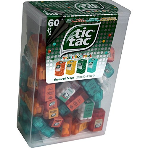 TIC TAC Spender Box with 60 Mini Boxes Liliput Flavours Orange Mint Peach Peppermint. by Tic Tac