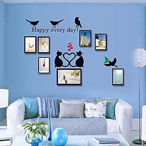 Le style de cadre de photo avec des oiseaux et des chats Autocollant mural de PVC à la maison papier peint en vinyle pour la décoration papier peint au salon, à la chambre et à la cuisine les photos d'art DIY à la salle de jeux pour des enfants