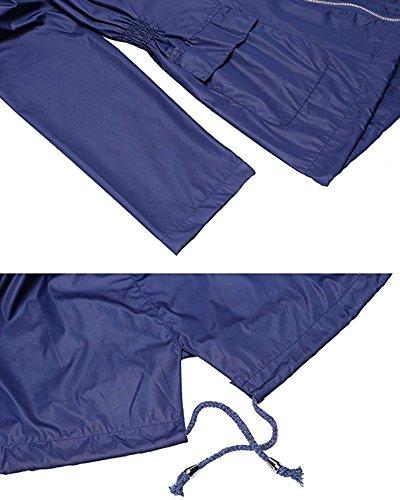Donne Cappotti Di Pioggia Giacca Impermeabile Con Cappuccio Impermeabile Pois Impermeabili Poncho Blu marino