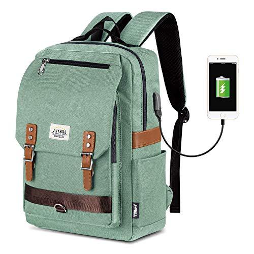 Unisex Vintage Rucksack, College Tasche Passt bis zu 15,6 Zoll Laptop, Mode Casual Rucksack wasserdichte Tagesrucksäcke für Schulreisen mit USB Aufladung (Grün)