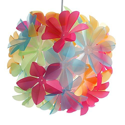 Paralume moderno e bello con motivo di fiori multicolorati – per lampada a sospensione