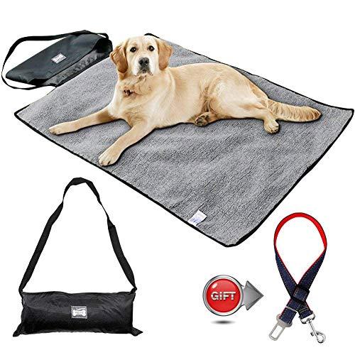 Faltbare Haustier Decke mit Hunde-Sicherheits-Gurt fürs Auto, Wasserdicht Tragbaren Mat mit Tragetasche für Hund Katze, für Den Heim- und Außenbereich,100 * 70cm (schwarz)