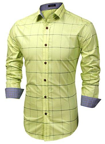 Coofandy Chemise Homme à Carreaux Manche Longue Coton Casual Col Italien Jaune Clair Taille L