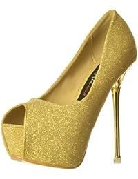 Partido De Onlineshoe Mujeres TalÃn Oro/plata Brillo PÃo Del Dedo Del Pie Zapatos Bombas