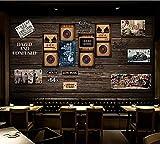 Fototapete Tapeten Wohnzimmer Fototapete VliesBenutzerdefinierte Tapete Wandbild Nostalgische Vintage Holzbrett Vinyl Old Record Bar Restaurant Hintergrund Wandbild, 400 * 280 Cm