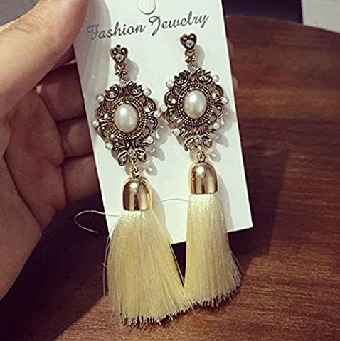 WeterCos (TM) en Europe Temp¨¦rament strass Style Antique Mode Tassel Dangle Boucles d'oreilles longues Boucles d'oreilles ethniques pour les femmes ED169 (beige)