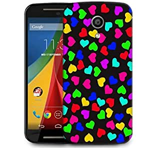 Snoogg Heart Pattern 2421 Designer Protective Phone Back Case Cover For Motorola G 2nd Genration / Moto G 2nd Gen
