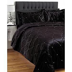 parure couvre lit velours diamante satin et strass 220. Black Bedroom Furniture Sets. Home Design Ideas