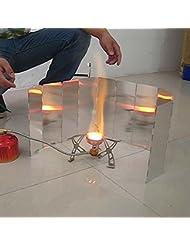 oxita (TM) 10assiettes en alliage d'aluminium pliable Camping Vent écrans de cuisson Cuisinière à gaz Poêle Vent Bouclier pliable Pare-brise