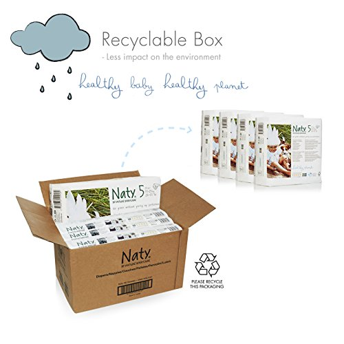 Naty by Nature Babycare Size 5 ECO Nappies – 4 x Packs of 23 (92 Nappies)