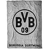 Borussia Dortmund BVB Fleecedecke mit Logo, Polyester, Grau/Schwarz, 200 x 150 x 1 cm