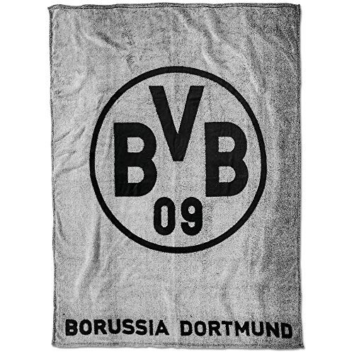 Borussia Dortmund BVB Fleecedecke mit Logo, Polyester, Grau/Schwarz, 200 x 150 x 1 cm -