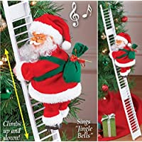 AMhomely Christmas Decorations Sale,Electric Climbing Ladder Santa Claus Christmas Figurine Ornament Gifts Merry Christmas Decorative Xmas Decor Ornaments Party Decor Gifts For Kids
