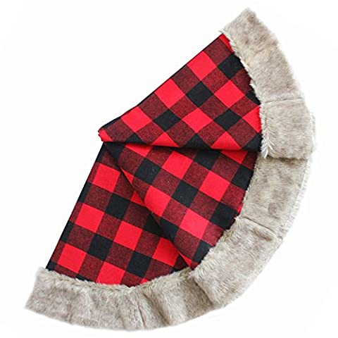 SORRENTO Buffalo Check Plaid Lined with Taffa Center,Gorgeous Wool Boucle Faux Fur Border,Extra Large 50
