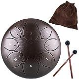Lotus Handpan lingua tamburo 8 note, 15,2 cm, Chakra, tamburo in acciaio da appendere con borsa da viaggio imbottita e mazzuole, Marrone