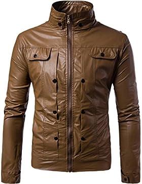 FNKDOR Chaqueta de cuero de los hombres Otoño invierno cremallera Outwear Warm Coat